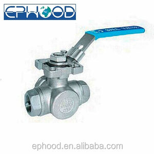 2057D Type DN8 (1/4) CF8M Material Thread End 1000WOG 3 Way Ball Valve In Manual Valves