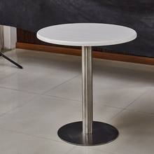 Home furniture High gloss multifunction New arrival cocktail table round stainless steel base white mdf wood top coffee table