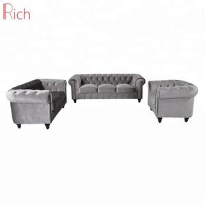 Modern Home Furniture Couch Grey Velvet Button Tufted Sofa Set Chesterfileld modern living room sofa