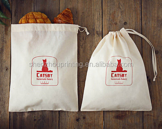 Promotional high quality custom printed image canvas pouch bag reusable small cotton drawstring bags wholesale