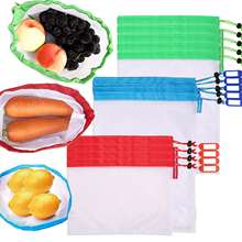 Washable 9 Pack 100% Food Contact Safe Zero Waste See Through Mesh Produce Bags for Grocery Shopping Storage Fruit Vegetable