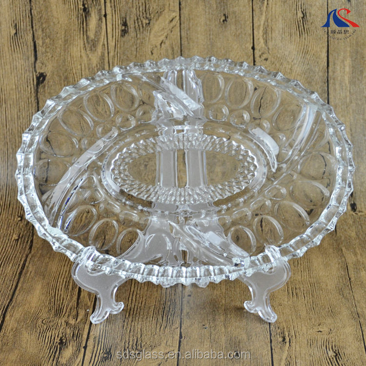 13inch Oval Shape Clear Glass Beaded Plate for Fruit and Nuts