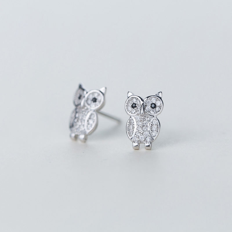 New Products 925 Sterling Silver Cute Zircon Owl Stud Earring Jewelry for Girl