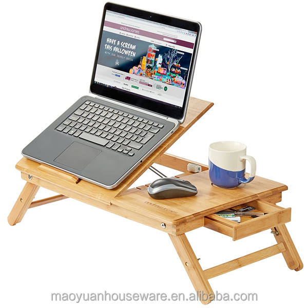 folding bamboo laptop table with cup holder and drawer