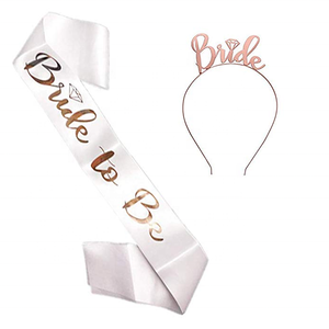 Rose Gold bride headband bride to be sash set for Bachelorette party decorations