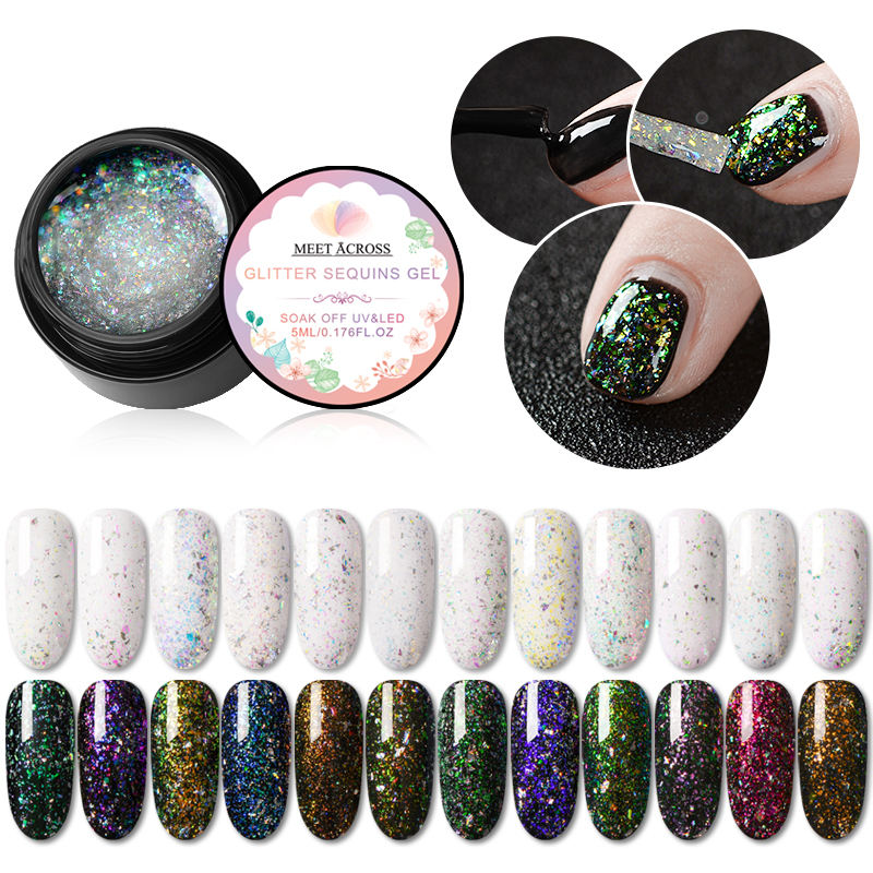 High quality new manicure nail art beauty starry sparkle sequins glitter nail gel