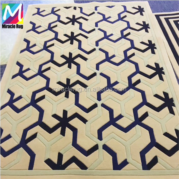 Luxury Wool Modern Geometry Design Hand Tufted Carpet Hand Made Silk LIving Room Rugs