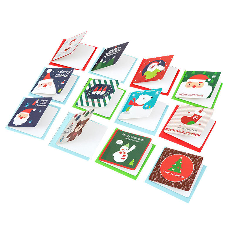 Custom Printing Santa Claus Paper Christmas Greetings Card With Envelope For Gift