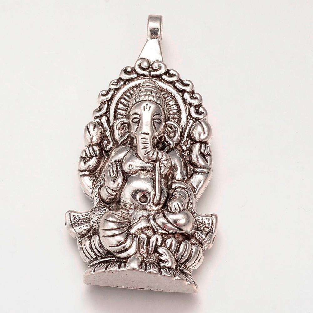 Pandahall Hindu Elephant God Lord Ganesh Statue Alloy Big Pendants