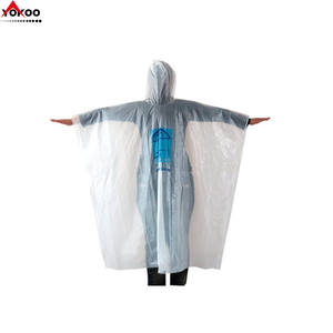 White waterproof disposable rain ponchos with custom logo printing