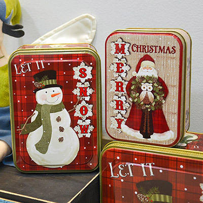 R0854H Special design cheap metal four pieces christmas gift tin box