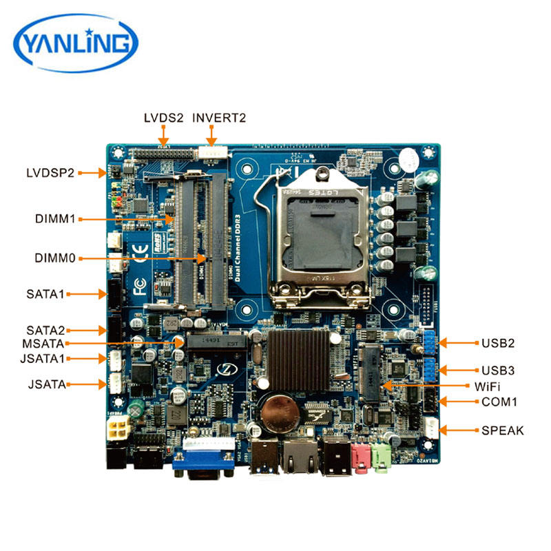 custom 12V mini pc motherboard board Intel i7 dual core 1*lan port mini-itx motherboard for router pc