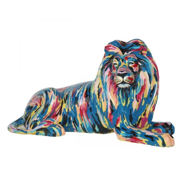 Hot sale life size indoor /outdoor resin fiberglass lion statue with wings for Christmas decoration