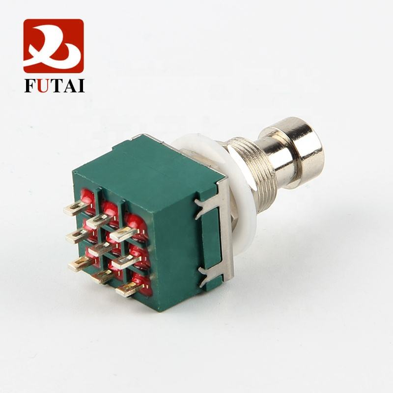 Futai 3PDT 9 Pin Gitar Efek Push Button Switch Kaki Pedal Switch Gitar Switch