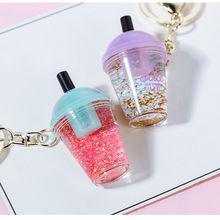 Wholesale Creative colourful  glitter milk tea shake cups quicksand keychain ring cute bag ornaments gifts