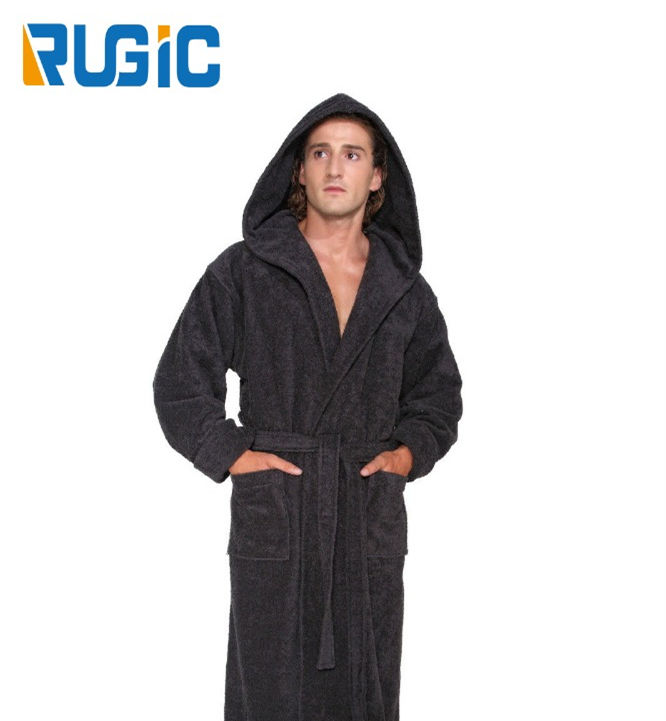 Burgundy 100% Cotton Terry Ankle Length Fabric Home Bathrobe Spa Sleepwear For Man Ankle Length Terry Robe Hooded Bathrobe Men