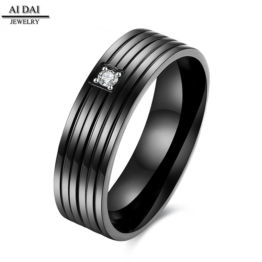 aisle IP plated black tat ring jewelry with zircon Stainless steel Rings for men