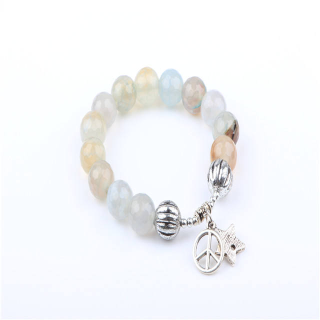 Bulk sell fashion jewelry moonstone beads bracelet love charms bracelet accessories