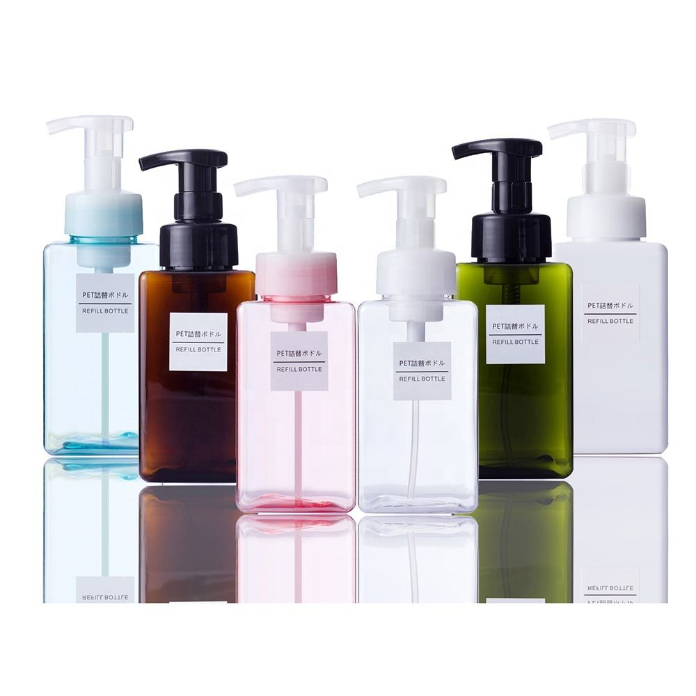 Eco Friendly Refill Cosmetics PETG Square Shampoo Foaming Pump Soap Dispenser 450ml Foam Bottles