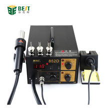 BEST-852D double LED display 2 IN 1 intelligent leadfree hot air gun with helical wind+ solder station -desolder station +sold