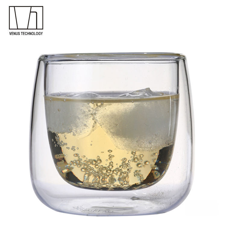 China Factory Wholesale Handmade Mouthblown Borosilicate Double Wall Glass Coffee Cups