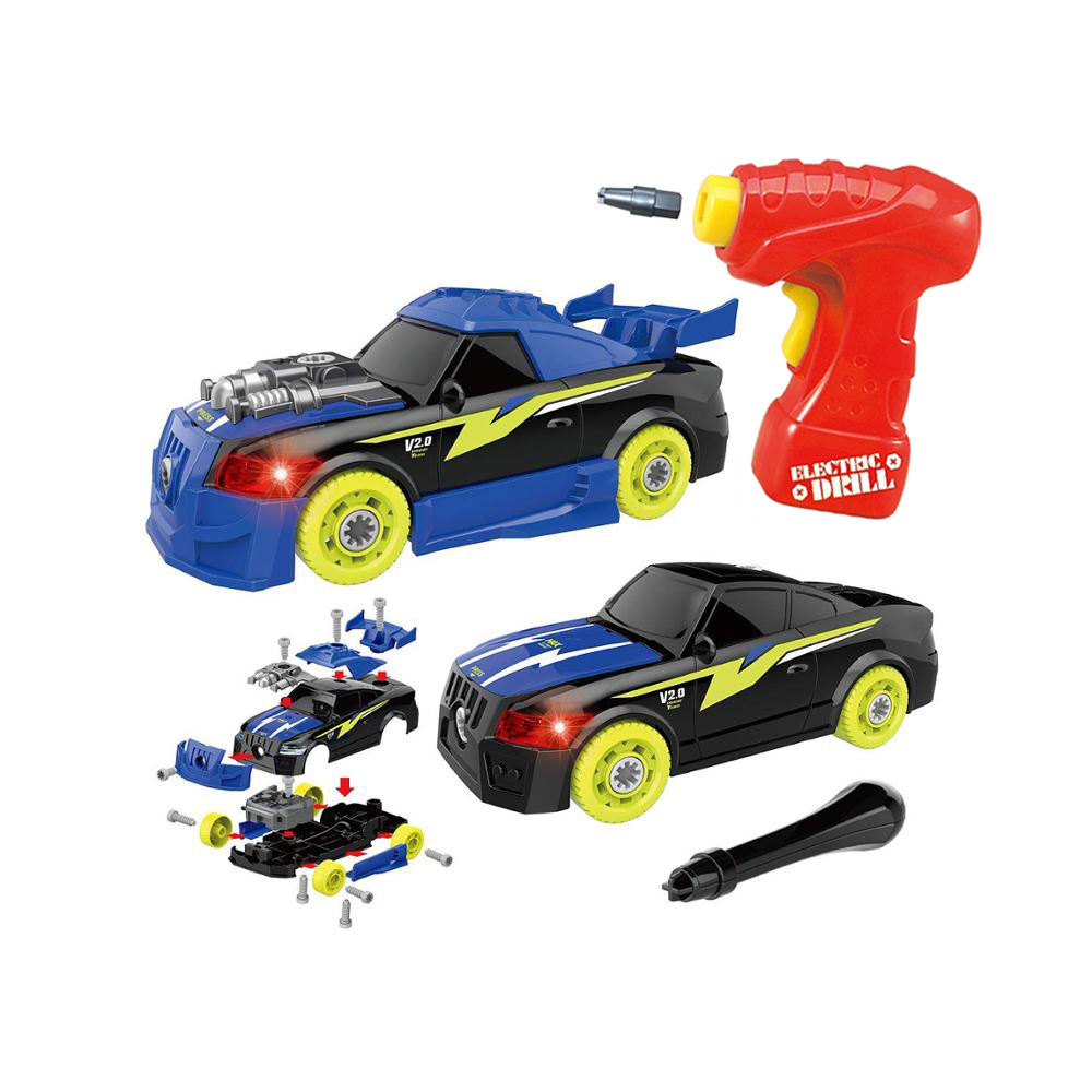Take Apart Racing Car with Lights and Sounds, STEM Toys Assembly Car Toys with Drill Tool, Gifts for Kids Aged 3+