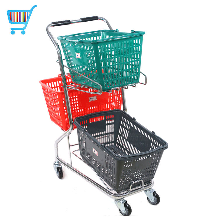 double layers metal shopping handing push carts 3 baskets plated shopping trolley supermarket shopping cart with 3 basket
