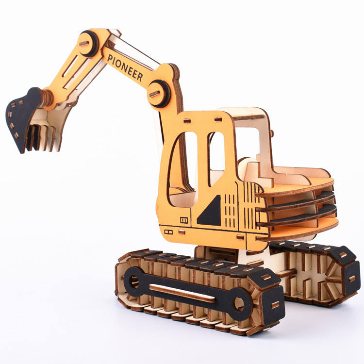 3D Wooden Laser Cut Construction Kit Excavator Power Shovel Car Truck Model Wood Puzzle Game Building Constructor