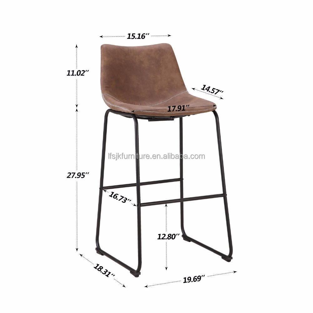 Vintage Faux Leather Bar Stools Upholstered Barstools
