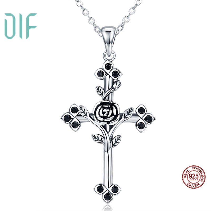 Joyas De Plata 925 Necklace Pendant Gift For Woman Simple Vintage Jewellery Cross Necklace Sterling Silver