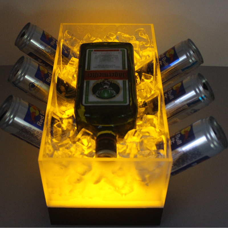 Rechargeable Acrylic LED Lighted Energy Drink Red Bull Can Vodka Bottle Cooler Boat Ice Bucket for Lounge Night Club Bar Party