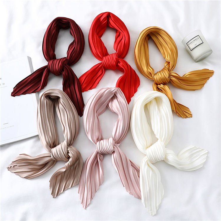 LRTOU Wholesale Custom Printing Girls Pleated Silk Scarves Fashion Solid Color Satin Silk Crinkle Square Neck Scarf For Women