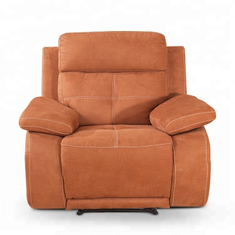 Yellow orange 1 seater fabric recliner chair