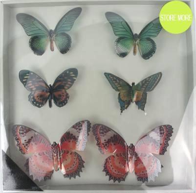 New 3D Design borboleta Art decalque adesivos <span class=keywords><strong>de</strong></span> parede Home Decor decoração da sala 6 pcs removível presente
