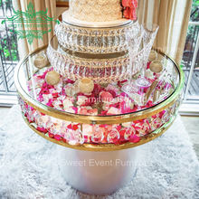 Round gold ss frame wedding crystal cake display table with white base