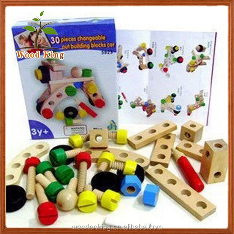 High Quality Lotus Wood 100 Change Nut Car Nut Children'S Intellect Wooden Block Puzzle Kids Bricks Intellect Blocks Toys