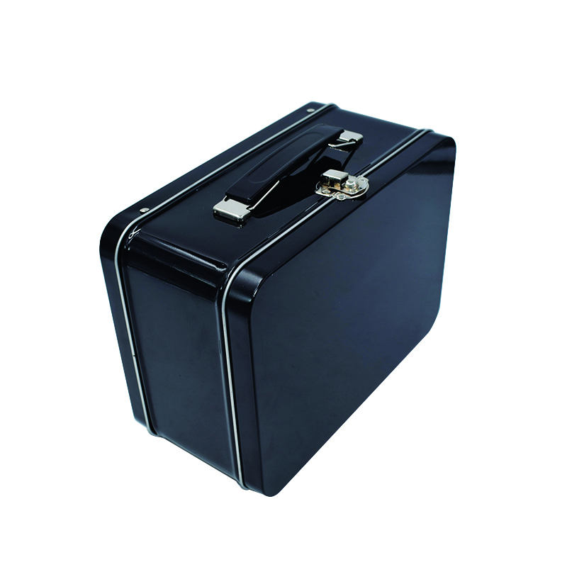 Custom Logo Large Pure Black Tin Lunch Box With Handle And Lock