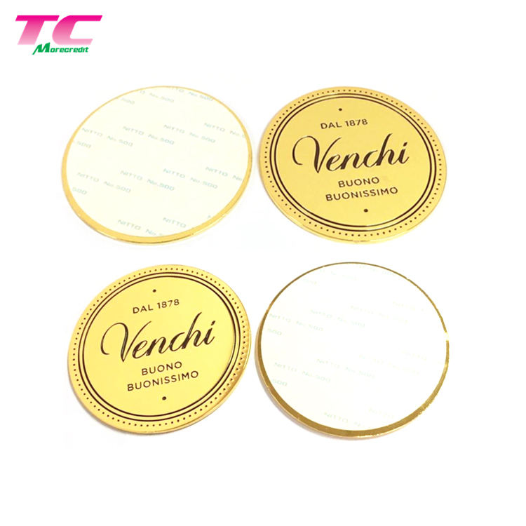 Flexible MOQ Customized Round Gold Permanent Metal Adhesive Label Sticker For Furniture Box Bottle