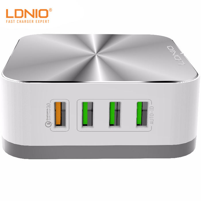 Ldnio 10A Auto-ID USB Dinding Desktop Charger Quick Charge 3.0 Port Smart Adaptor