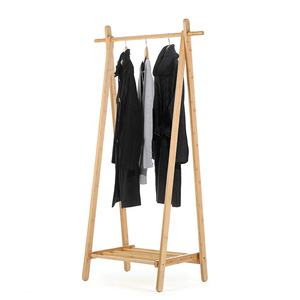 Portable 1-Tire bamboo clothes drying rack with storage box shelves