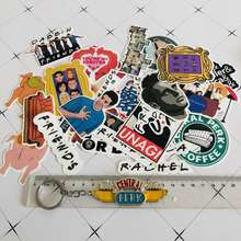 34 pcs Friends Tv Show Stickers and 1  Friends Keychain /bag