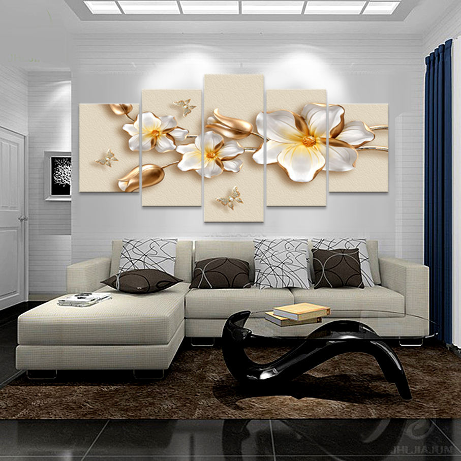 5 Panel Canvas Printed Canvas Wall 3D Modern Floral Art Painting