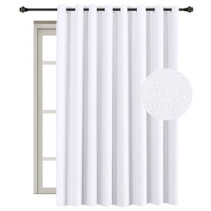 Pure White Extra Long and Wide Room Darkening Curtains Rich Textured Linen Patio Door Panel Home Fashion Window Panel Drapes