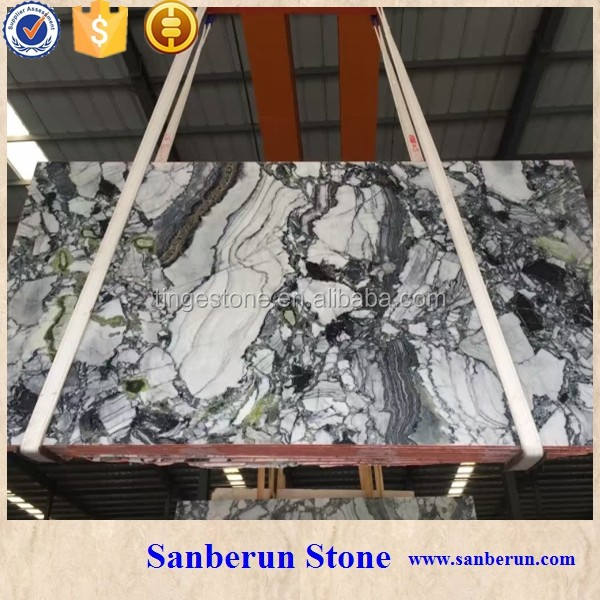 Hot-Selling chinese white marble with Green veins