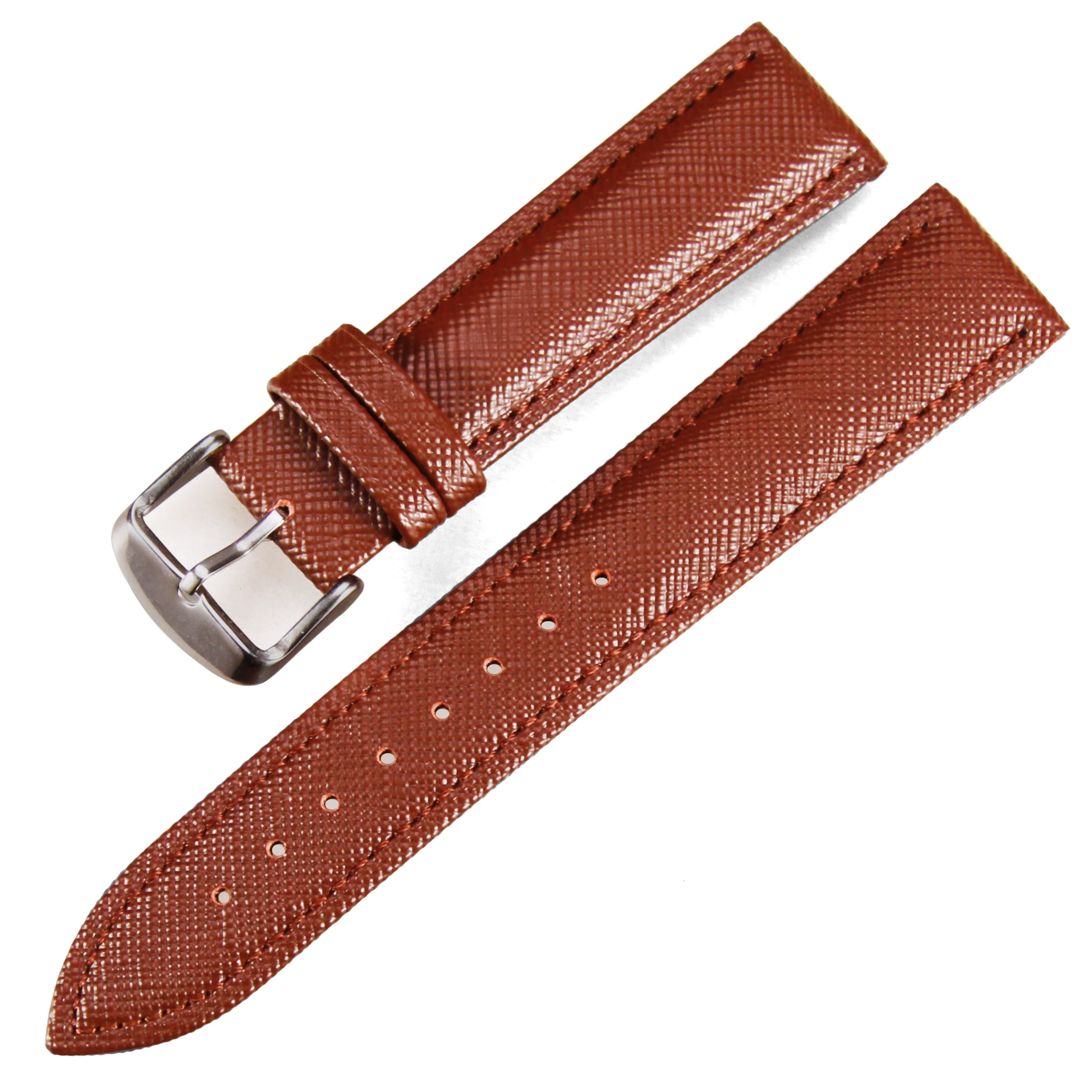 Manufacturer handmade Black/brown Needle lines 12-24mm cheap Genuine leather watch band