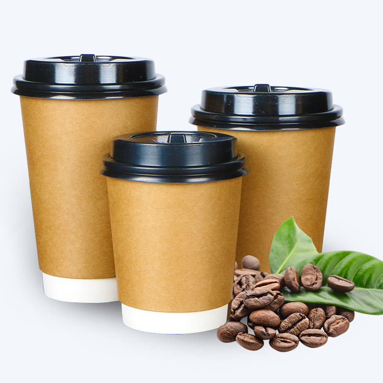 8oz 12oz 16oz kraft paper double wall cup for hot coffee with plastic cover customization printing