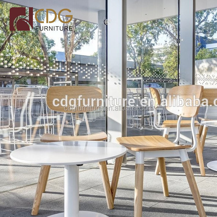 Modern Restaurant Wooden Seat Chairs White Color Chairs