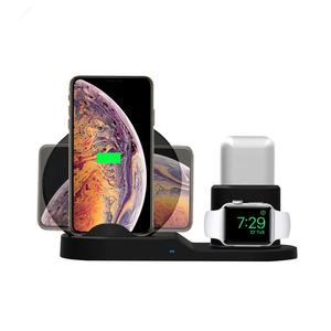 SUNLINE 2019 Wireless Charger Stand Qi Wireless charger 10w 15w Fast Charging 3 in 1 Charging Station for phone