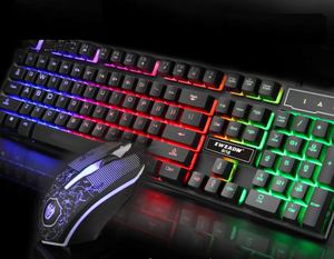Keyboard dan Mouse Gaming Ergonomis, Lampu Latar Multimedia 104 Tombol Spanyol
