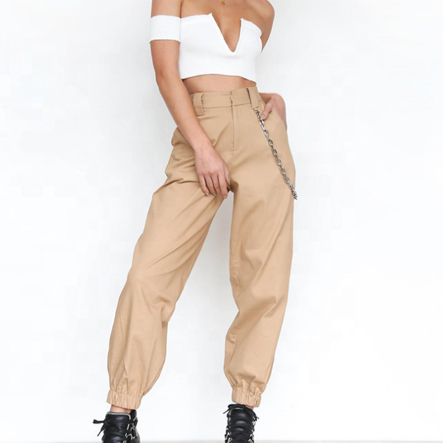 FY Women Casual Joggers Black High Waist Loose Female Trousers Korean Style harem pants